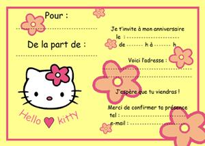 Carte invitation anniversaire hello kitty