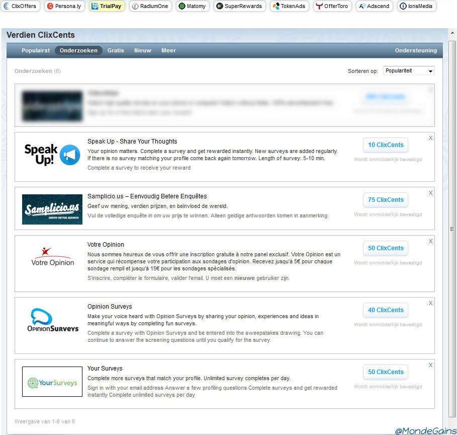 Clixsense - TrialPay offerwall