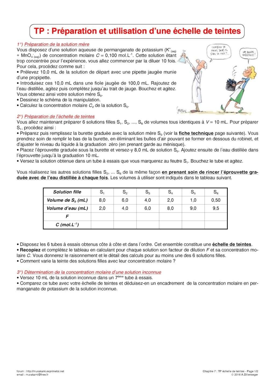 Tp n 16 pr paration et utilisation d 39 une chelle de teintes for Utilisation d une carrelette