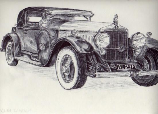 Vieille voitures au stylo bille noir - Dessin vieille voiture ...