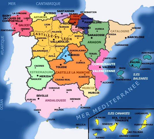 Infos sur : carte espagne et iles espagnoles   Arts et Voyages