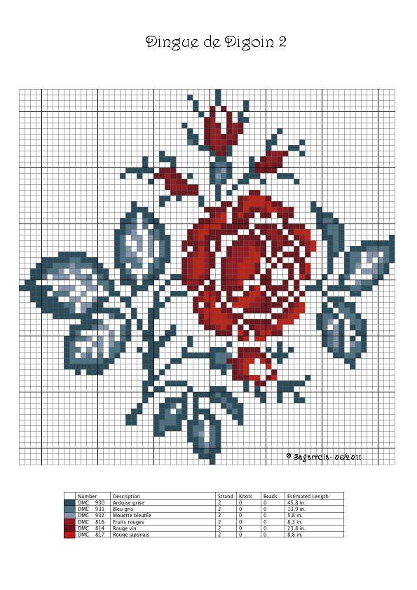 Des grilles de roses pour le point de croix. - Chez elkalin.com