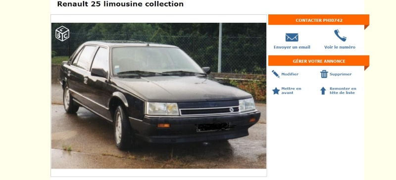 leboncoin renault 25 turbo dx limousine noire. Black Bedroom Furniture Sets. Home Design Ideas