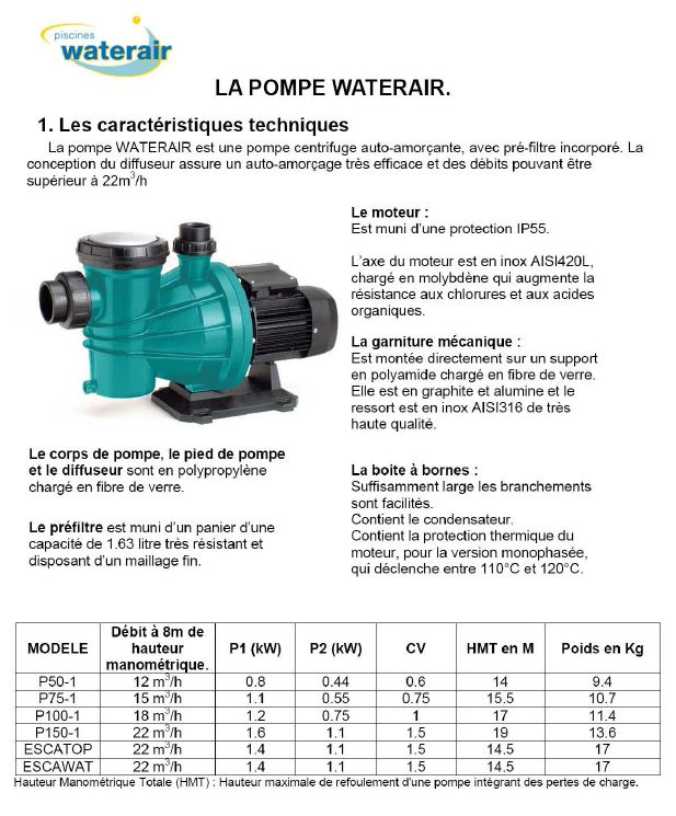 pompe piscine waterair