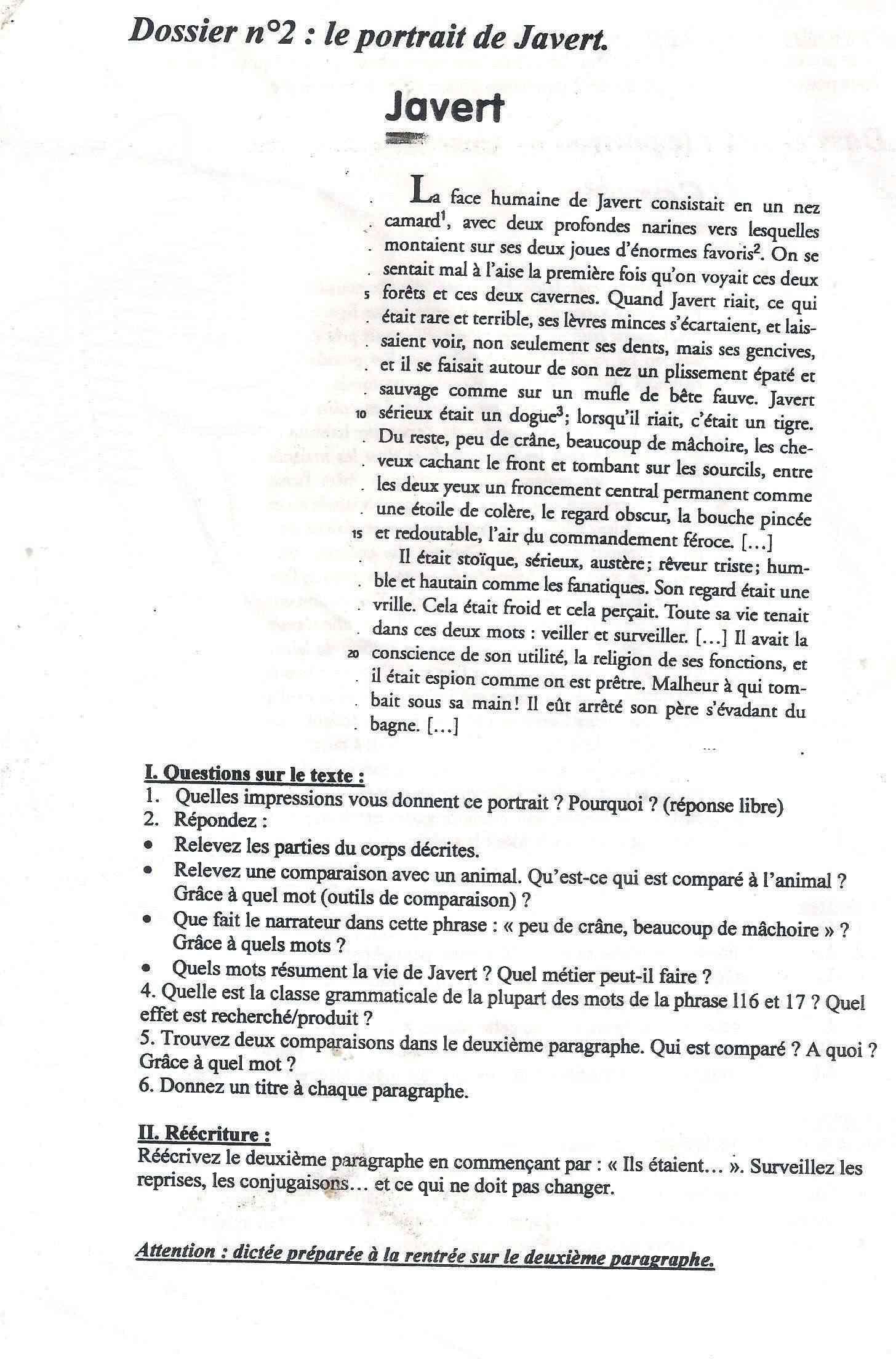 Devoir Maison de Francais 4ème Français