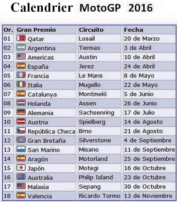 Calendrier moto GP 2016