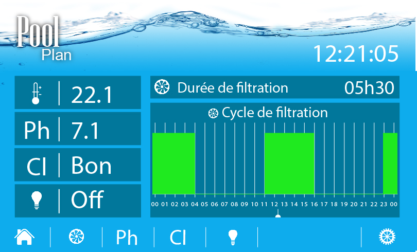 Aquapool projet gestion piscine for Reglage filtration piscine