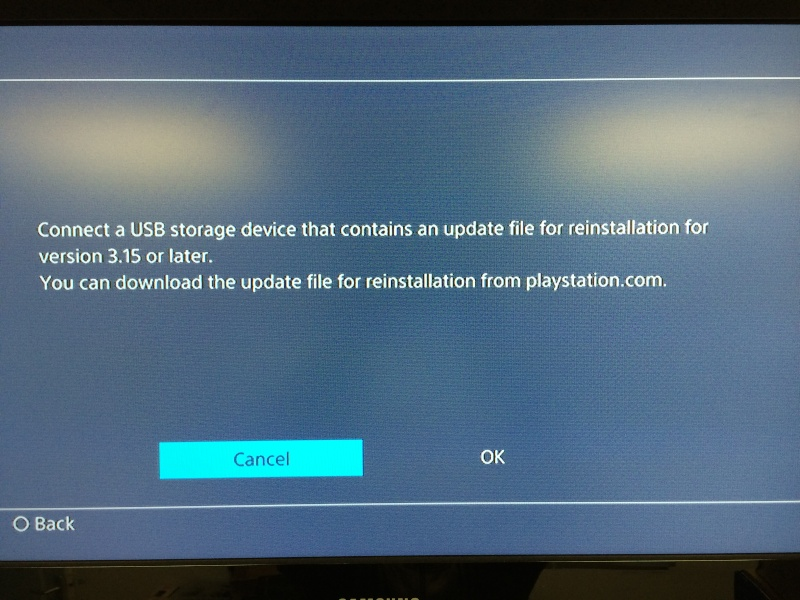 fichier de reinstallation ps4