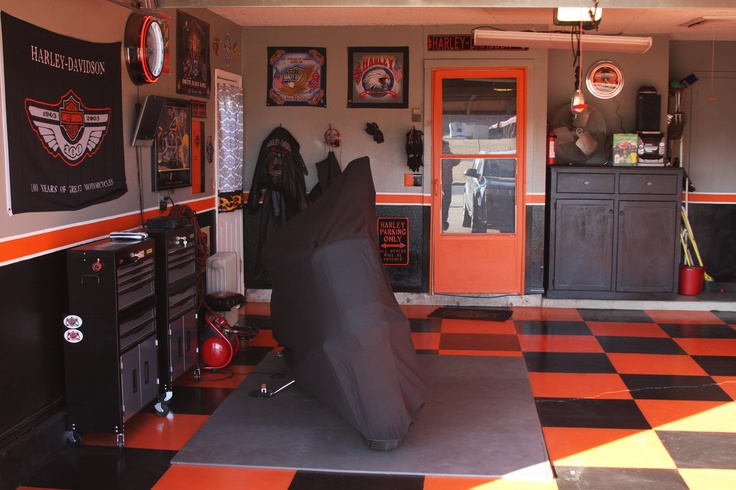 Decorating garage harley for Interieur garage