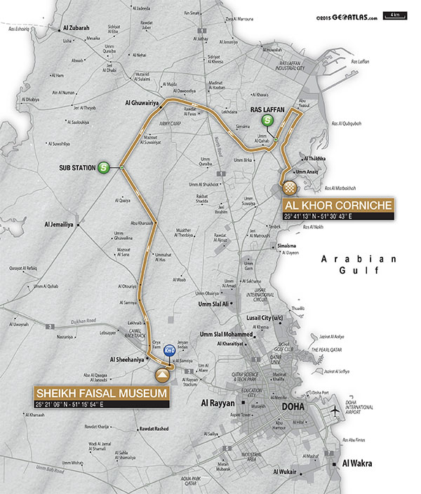 planimetria 2016 » 8th Ladies Tour of Qatar (2.1) - 2a tappa Sheikh Faisal Museum › Al Khor Corniche (120 km)