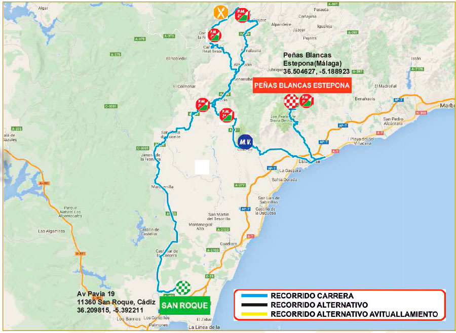 planimetria 2016 » 62nd Vuelta a Andalucia Ruta Ciclista Del Sol (2.1) - 5a tappa » San Roque › Peñas Blancas (164.2 km)