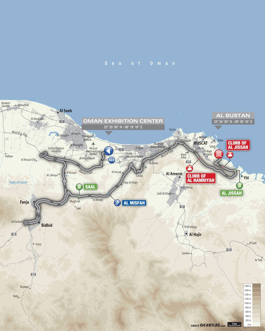 planimetria 2016 » 7th Tour of Oman (2.HC) - 1a tappa » Oman Exhibition Center › Al Bustan (145.5 km)