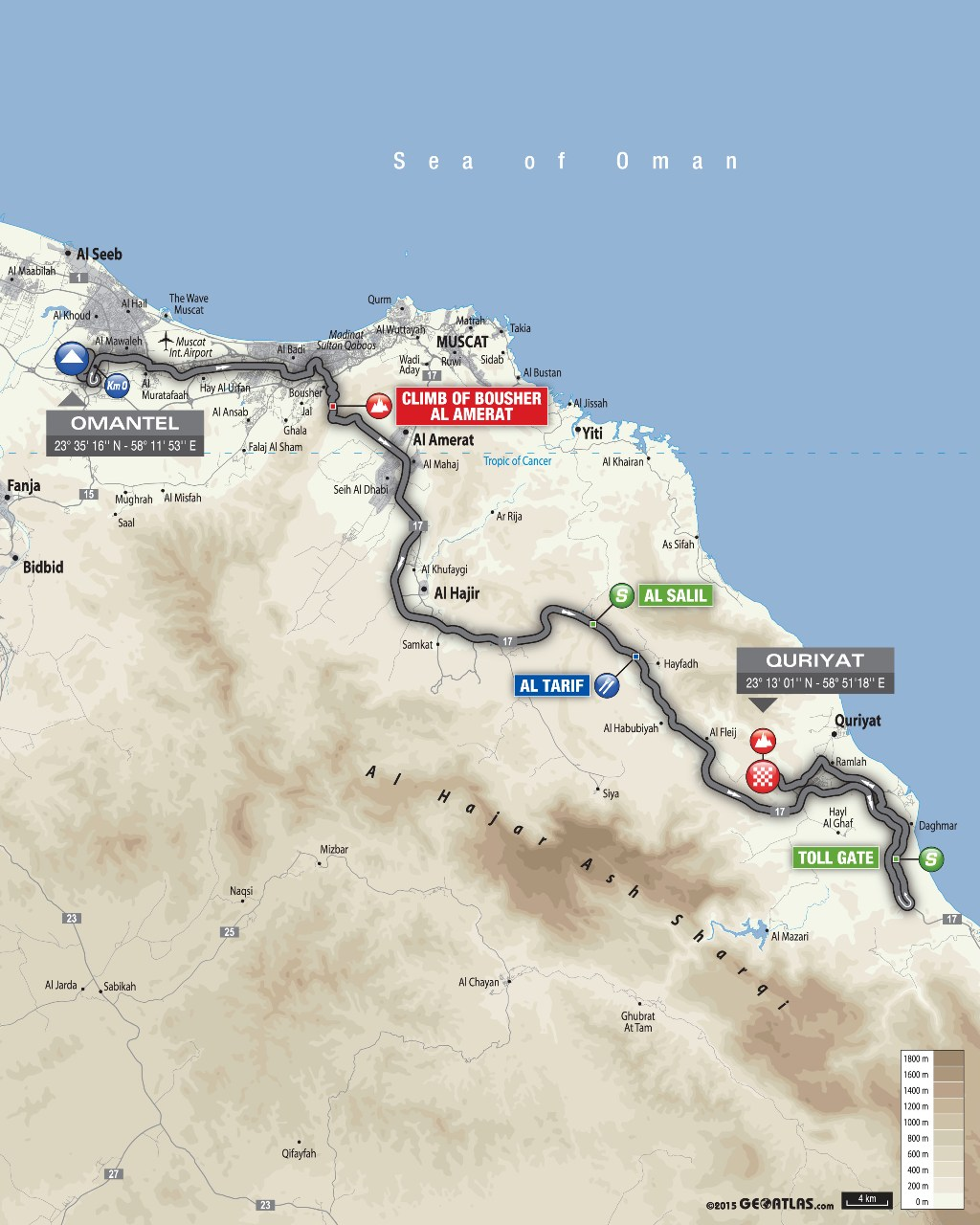 planimetria 2016 » 7th Tour of Oman (2.HC) - 2a tappa » Omantel Head Office › Quriyat (162 km)
