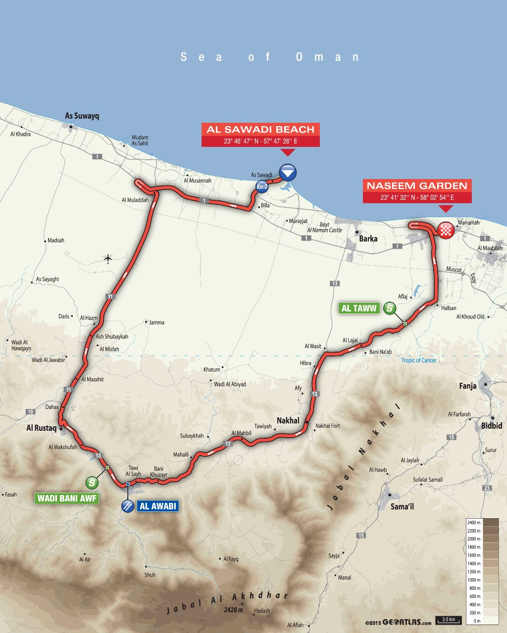 planimetria 2016 » 7th Tour of Oman (2.HC) - Al Sawadi Beach › Naseem Park (176.5 km)