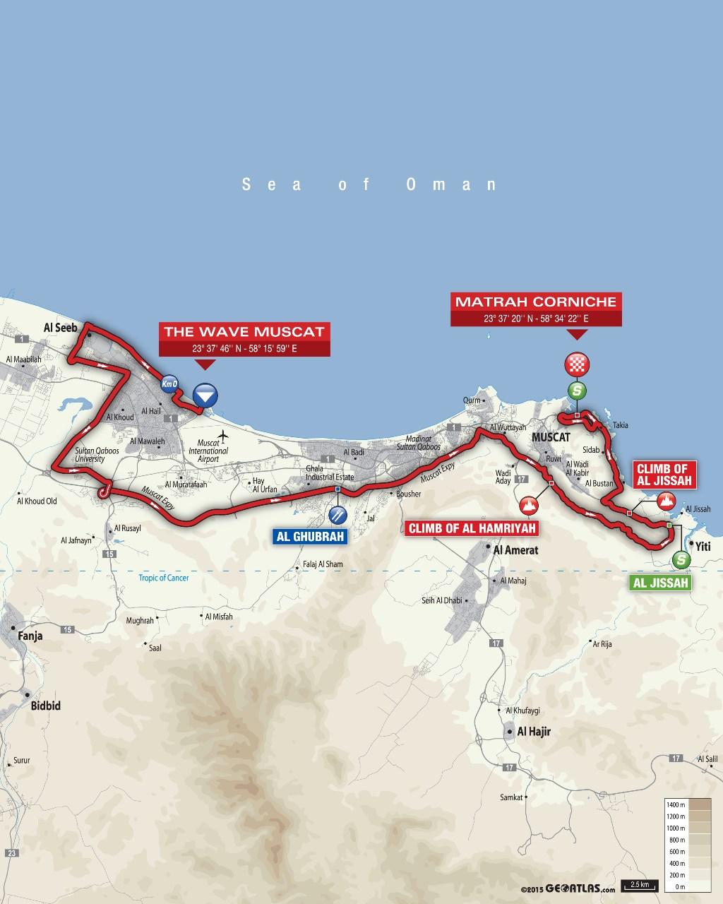planimetria 2016 » 7th Tour of Oman (2.HC) - 6a tappa » The Wave Muscat › Matrah Corniche (130.5 km)