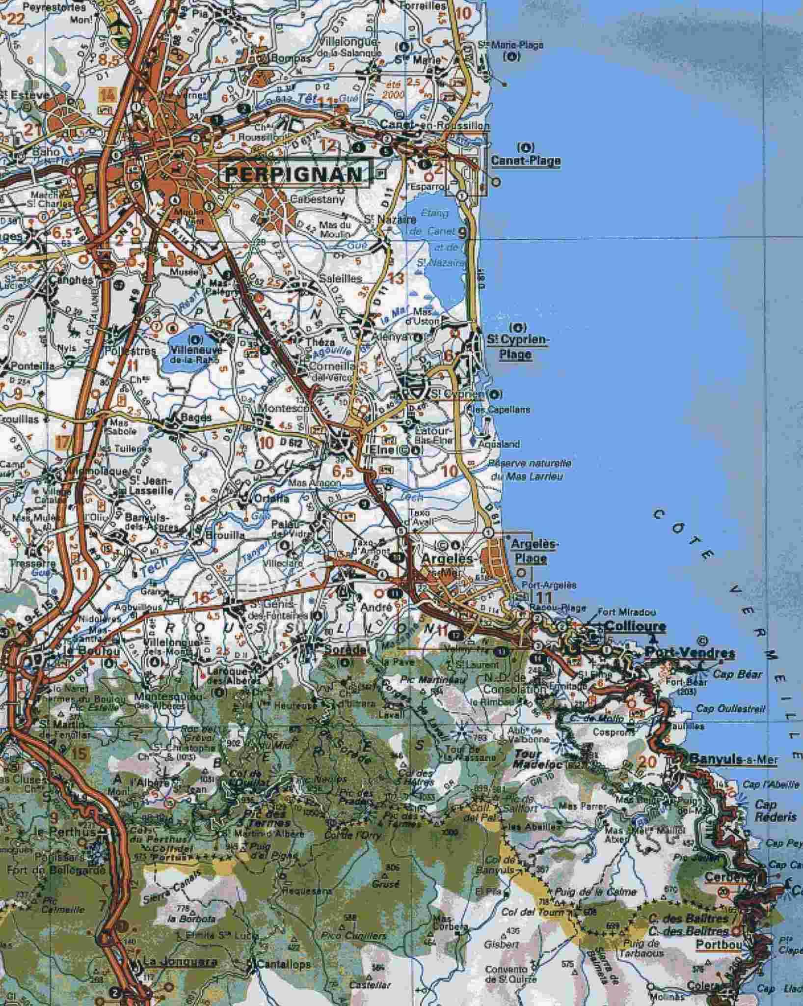 mappa Étang de Canet-Saint-Nazaire 2016 » 42nd La Méditerranéenne (2.1) - 2a tappa » Banyuls › Port Vendres (145 km)