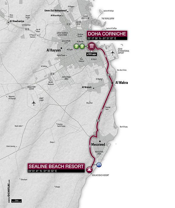 planimetria 2016 » 15th Tour of Qatar (2.HC) - 5a tappa » Sealine Beach Resort › Doha Corniche (114 km)
