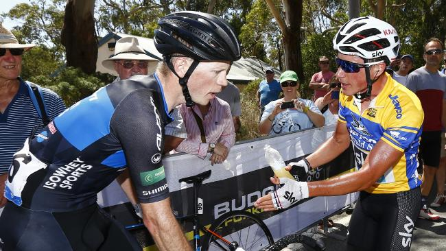 Discussione accesa fra Pat Shaw e Peter Kennaugh all'Herald Sun Tour (2.1)